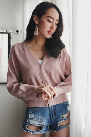 Restocked* Sweet Dreams Cropped Cardigan in Dusty Pink