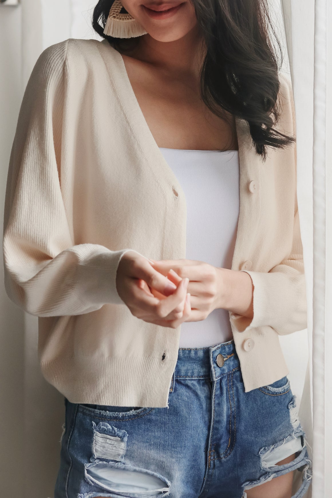 Restocked* Sweet Dreams Cropped Cardigan in Vanilla