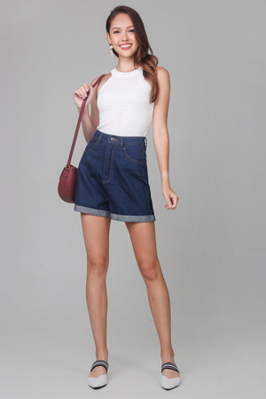 Restocked* Zoey Cuffed Shorts in Dark Denim