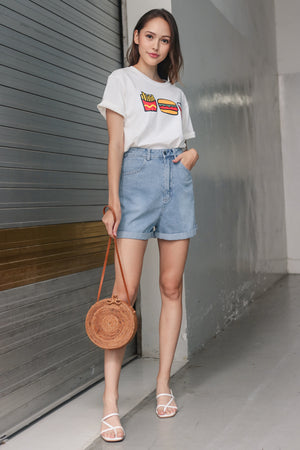Restocked* Zoey Cuffed Shorts in Light Denim