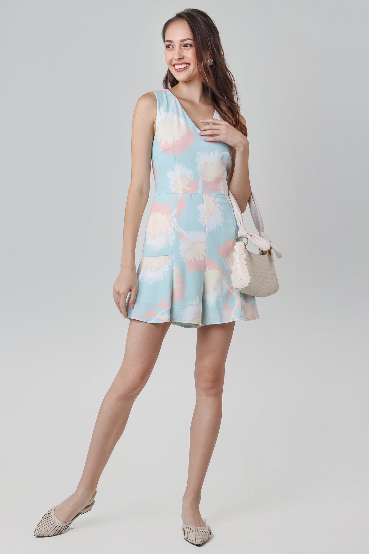 Dandelions V-neck Playsuit in Mint