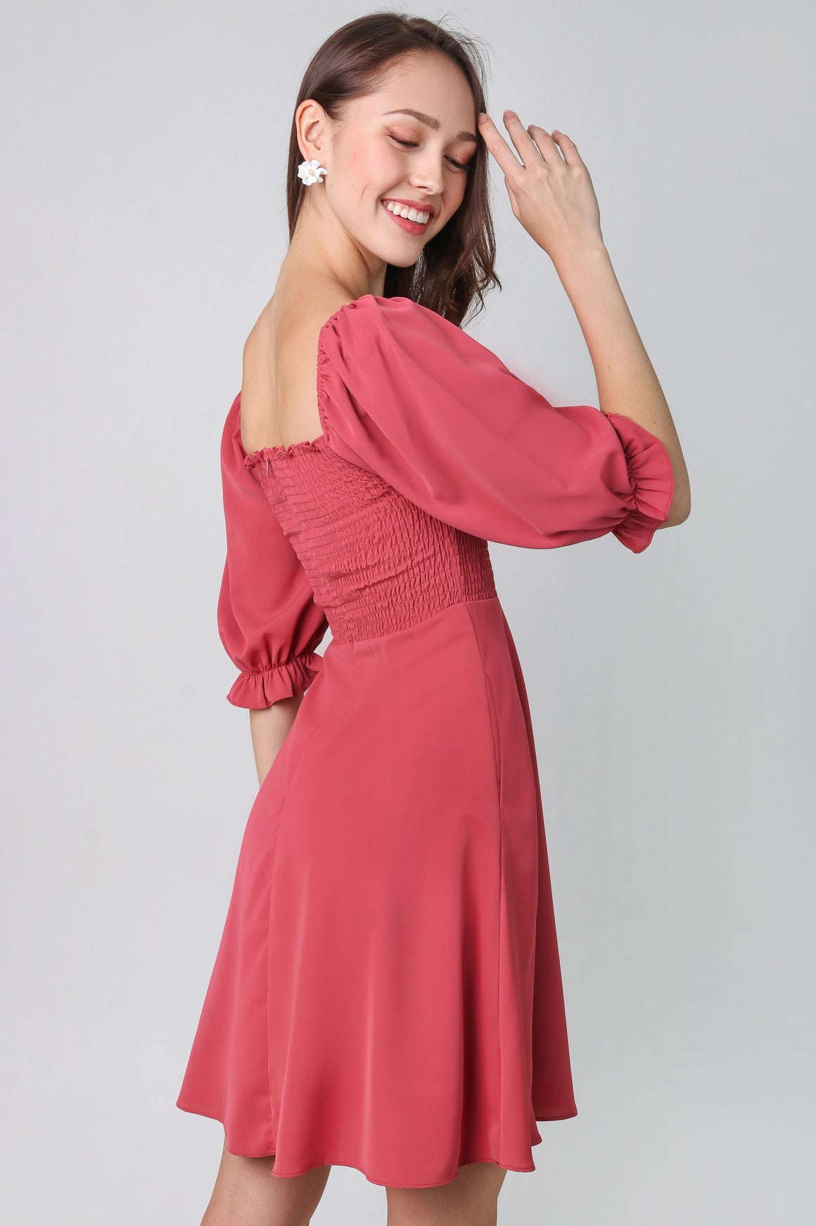 Delcinea Smocked Dress in Rosewood