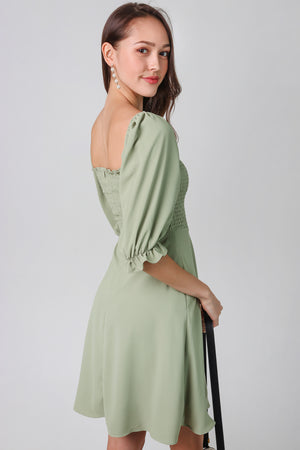 Delcinea Smocked Dress in Matcha Green