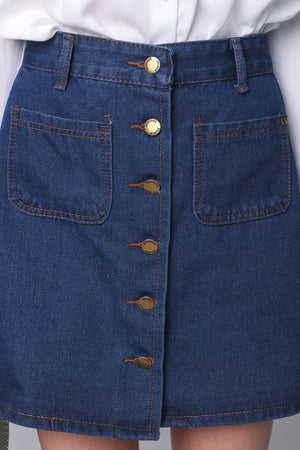 Restocked* Denim Button Skirt in Dark