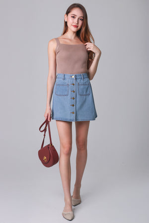 Restocked* Denim Button Skirt in Light