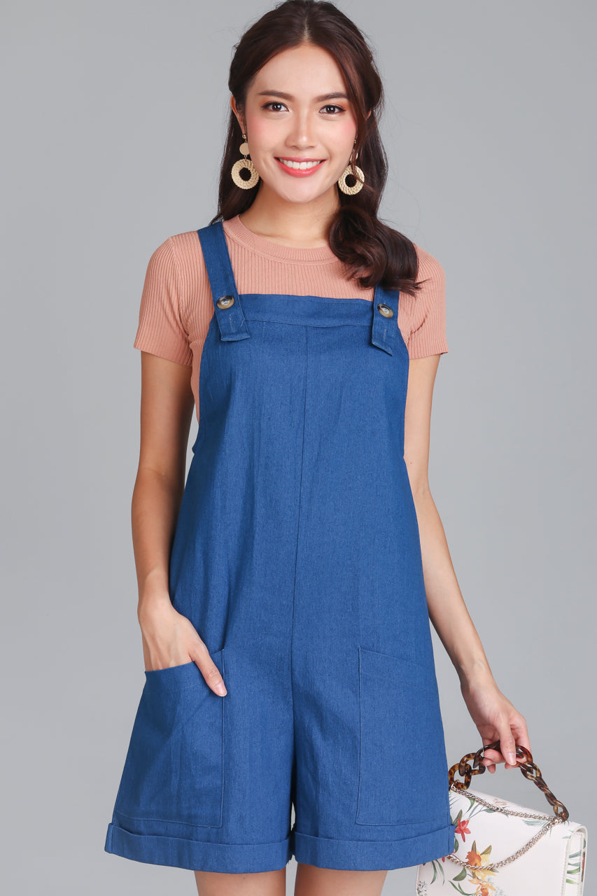 Pocket Dungarees in Dark Denim