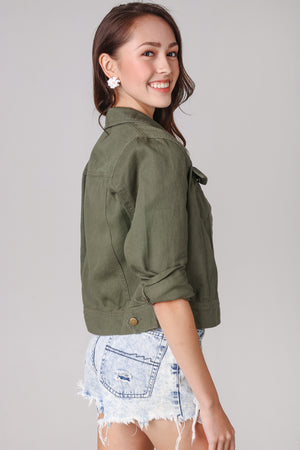Haley Denim Jacket in Olive