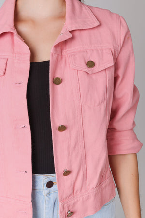 Haley Denim Jacket in Pink