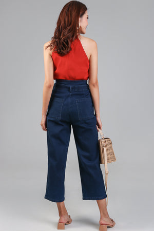 Backorder* Rae Denim Paperbag Pants in Dark