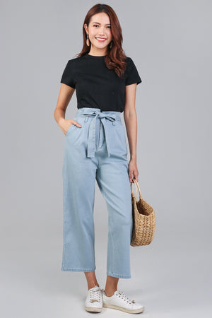 Backorder* Rae Denim Paperbag Pants in Light