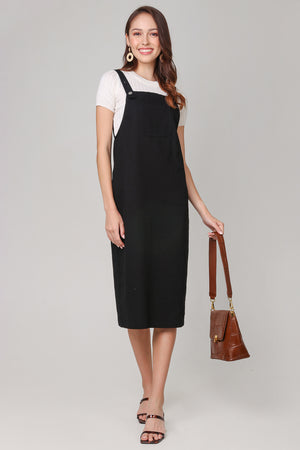 Leigh Denim Pinafore Dress in Black