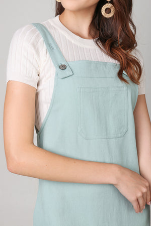Leigh Denim Pinafore Dress in Tiffany