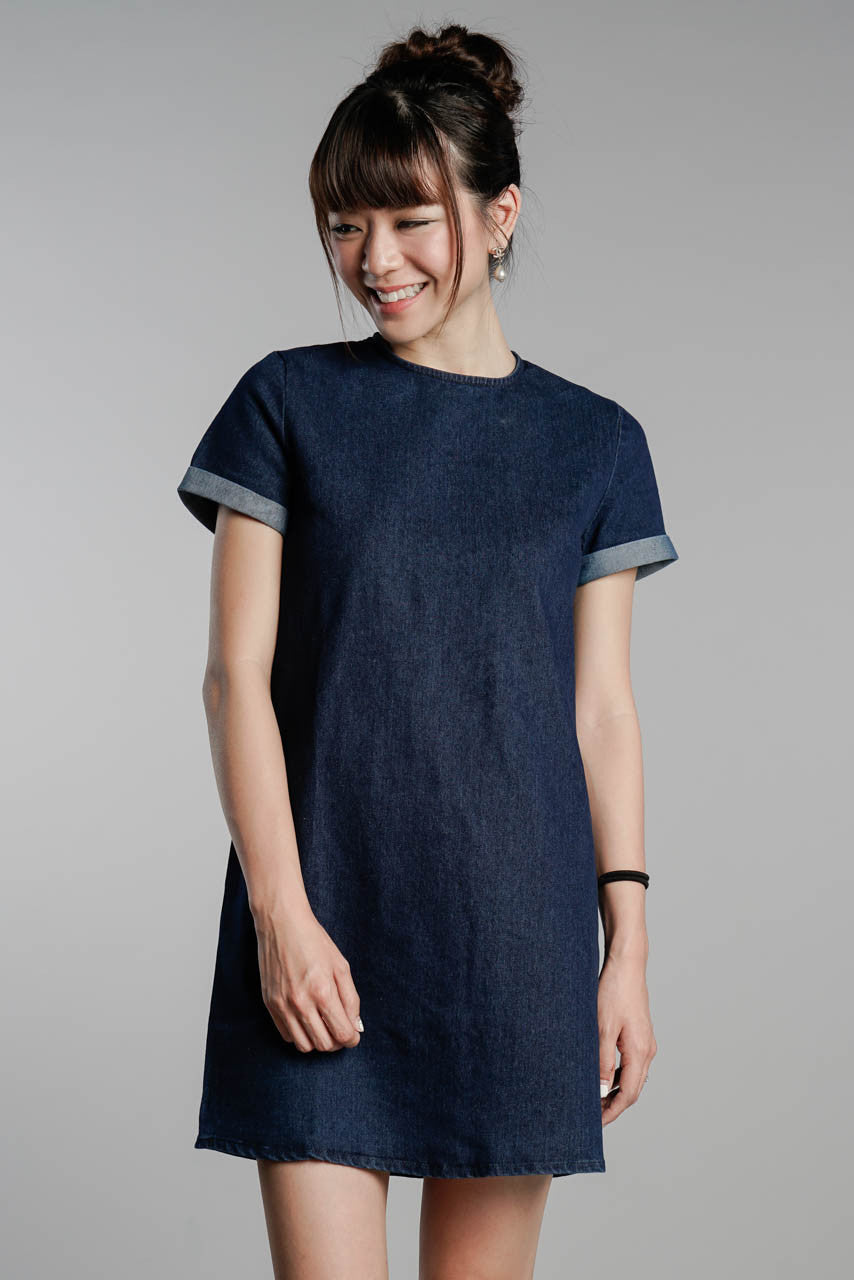 Restocked* Alexa Denim T-shirt Dress in Dark-Wash