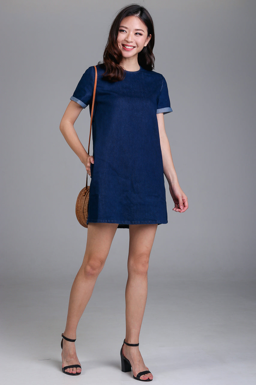 Denim Tee Dress in Dark Wash