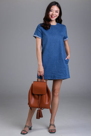Denim Tee Dress in Mid Wash