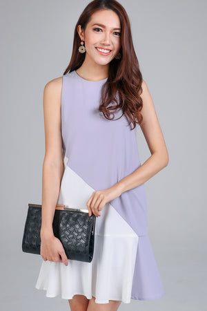 Diagonal Ruffle Hem Dress in Lilac Grey