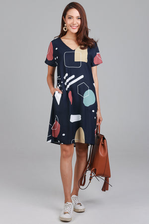 Do The Math Tee Dress in Navy