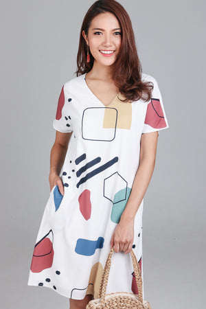 Do The Math Tee Dress in White