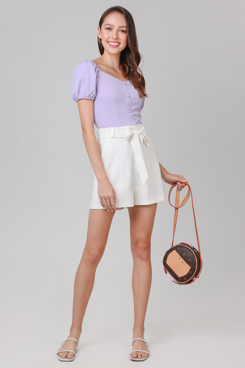 Laurel Double Pocket Shorts in White