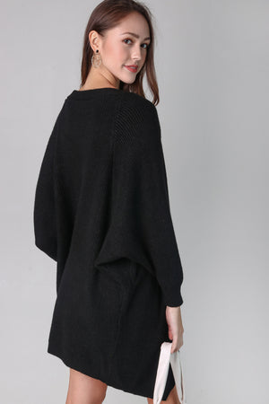 Restocked* Layla Drape Knit Cardi in Black