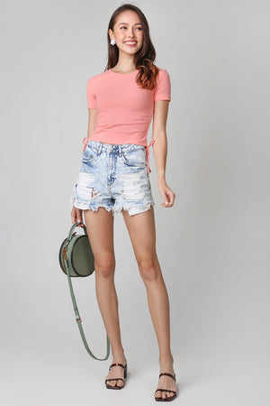 Drawstring Ribbed Top in Coral (2-Way)