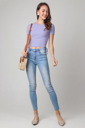 Drawstring Ribbed Top in Lilac (2-Way)