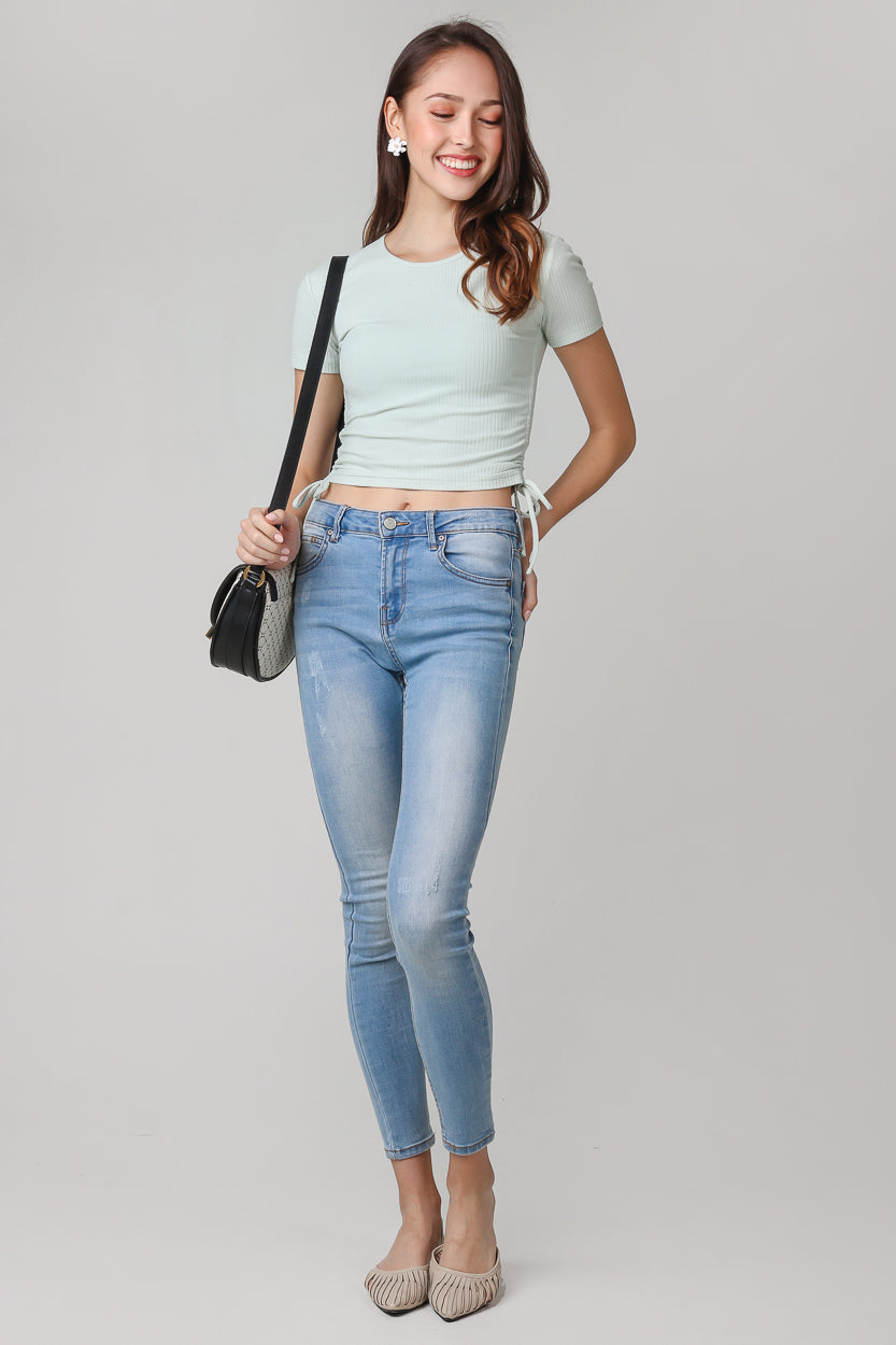 Drawstring Ribbed Top in Mint (2-Way)