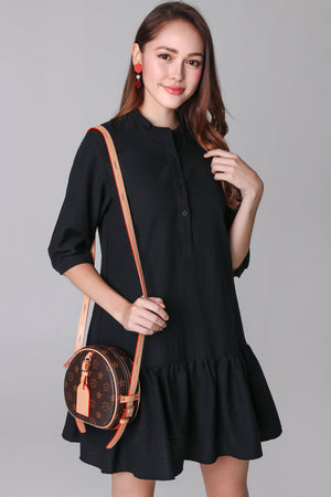 Aimee Mandarin Collar Shirt Dress in Black