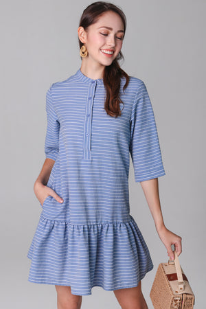 Aimee Mandarin Collar Shirt Dress in Blue