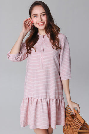 Aimee Mandarin Collar Shirt Dress in Pink