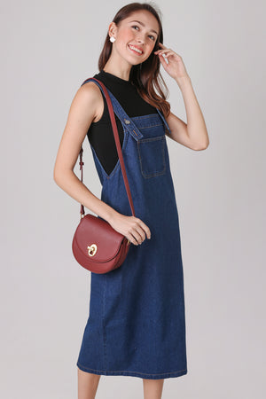 Backorder* Denim Pinafore Dress in Dark Wash