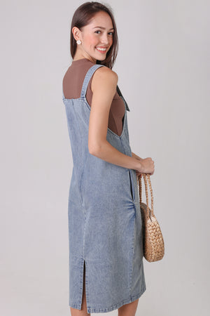 Backorder* Denim Pinafore Dress in Light Wash