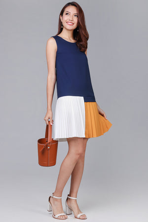 Trixie Duo-Tone Pleat Hem Dress in Navy