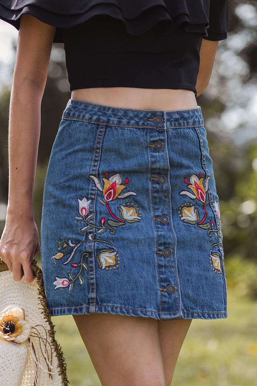 Restocked* Beatrix Embroidered Denim Skirt
