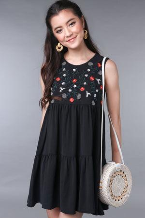 Lindy Embroidered Tier Dress in Black