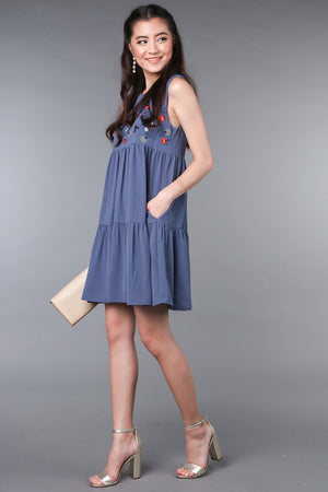 Lindy Embroidered Tier Dress in Blue