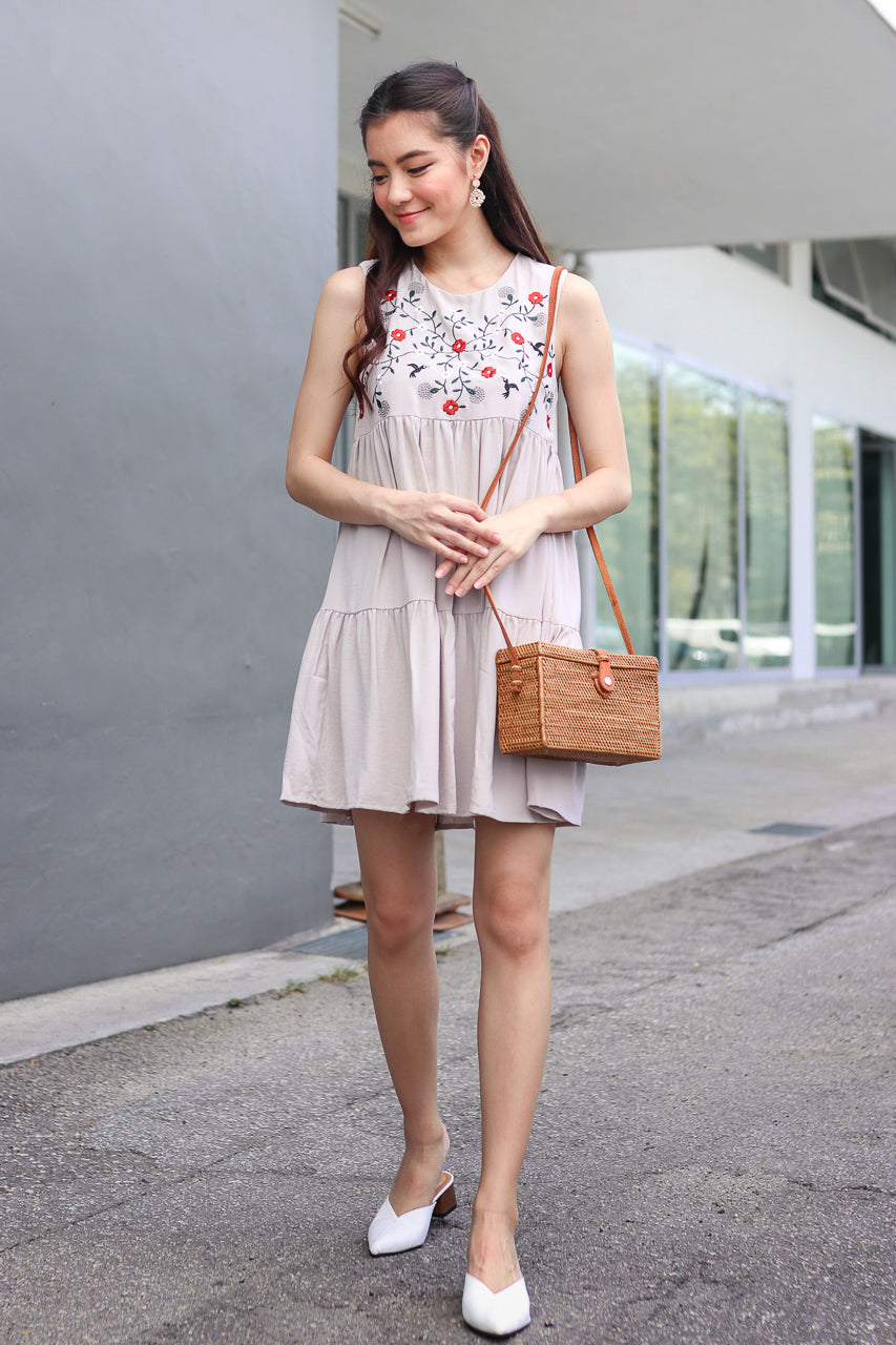 Lindy Embroidered Tier Dress in Nude