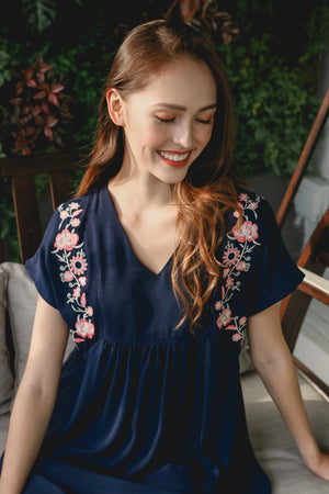 Camilla Embroidery Babydoll Romper in Navy