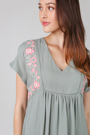 Camilla Embroidery Babydoll Romper in Sage