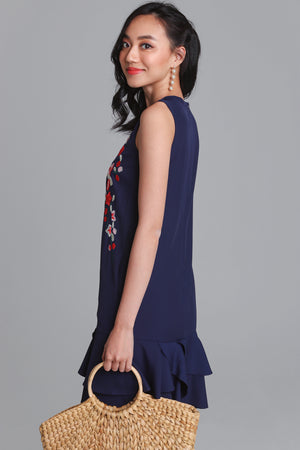 Bella Donna Embroidery Dress in Navy
