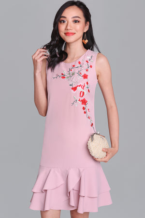 Bella Donna Embroidery Dress in Pink