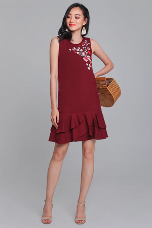Bella Donna Embroidery Dress in Wine