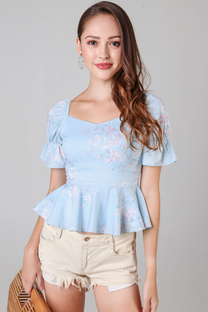 Erica Floral Peplum Top in Sky
