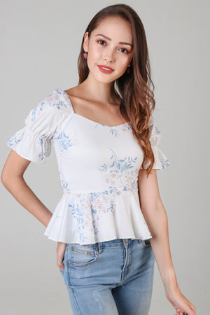 Erica Floral Peplum Top in White