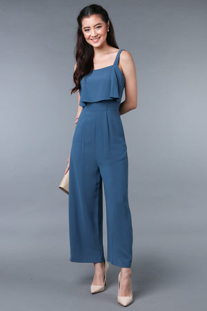 Evelyn Layered Jumpsuit in Teal