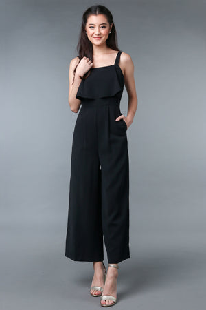 Evelyn Layered Jumpsuit in Black