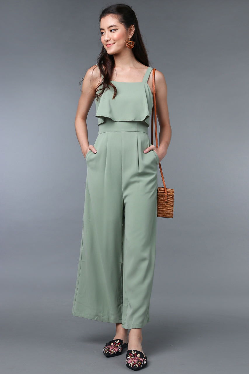 Evelyn Layered Jumpsuit in Jade