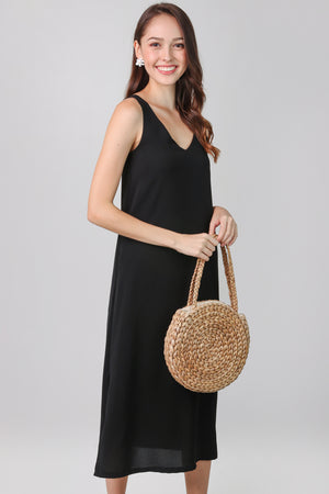 Everyday Midi Dress in Black (2-Way)