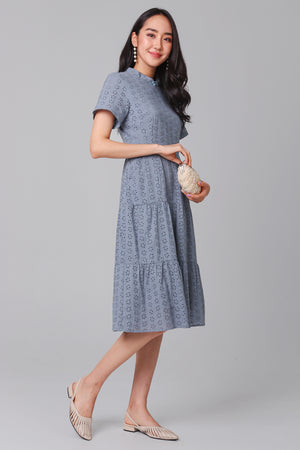 Grace Eyelet Midi Dress in Ash Blue