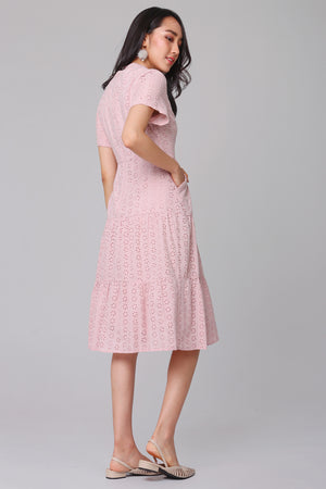 Grace Eyelet Midi Dress in Pink